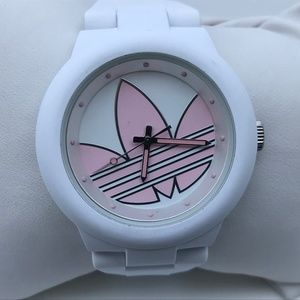 Adidas Women Watch White Rubber Band Sport Analog